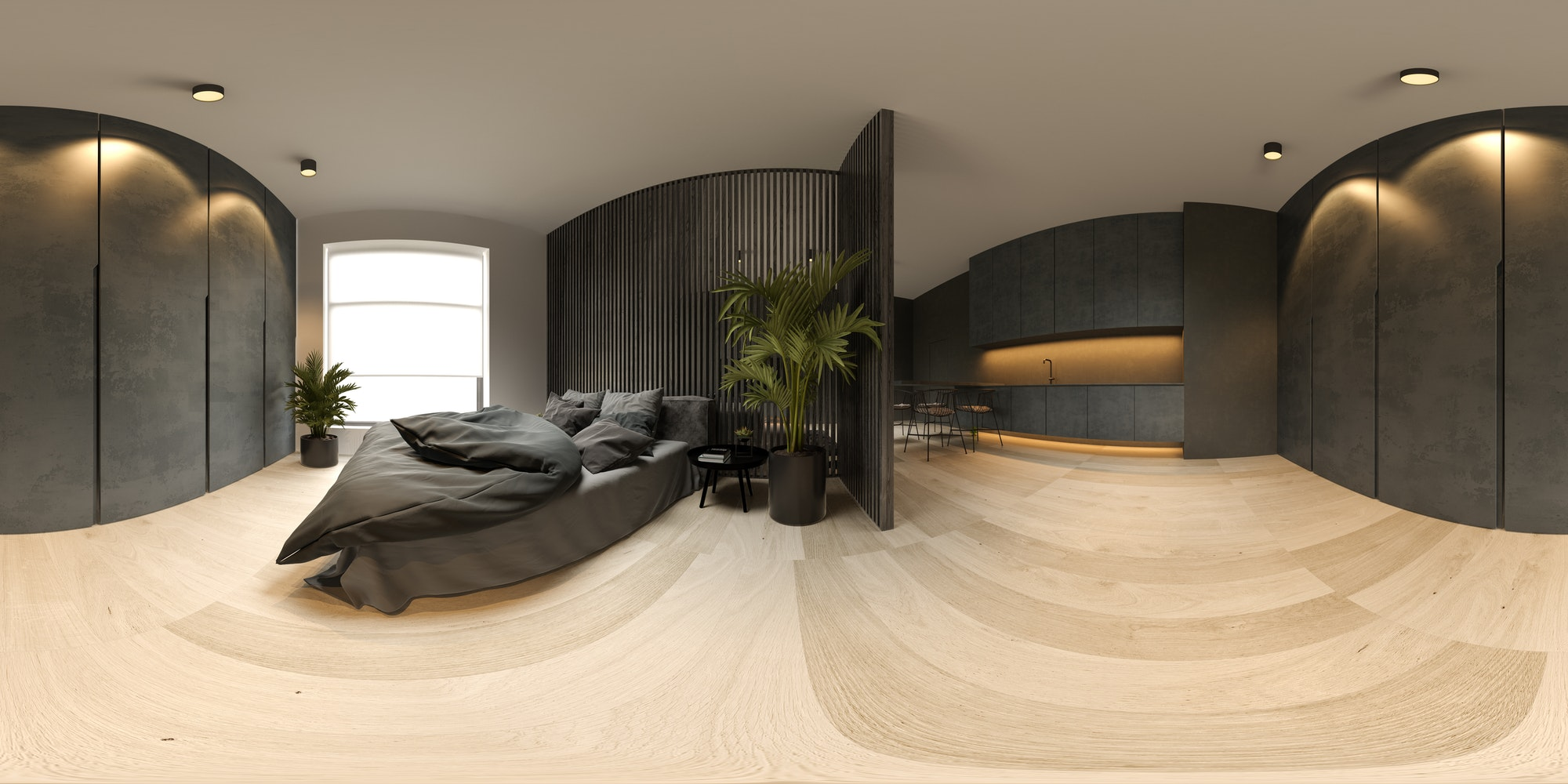 360 panorana black minimalist Interior of modern living room 3D rendering